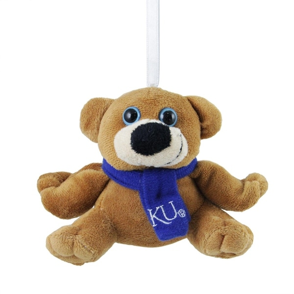 "4.5"" University of Kansas Jayhawks Brown Plush Teddy Bear Christmas Ornament"