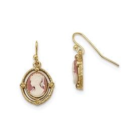 Goldtone Pink & Clear Glass Leverback Earrings