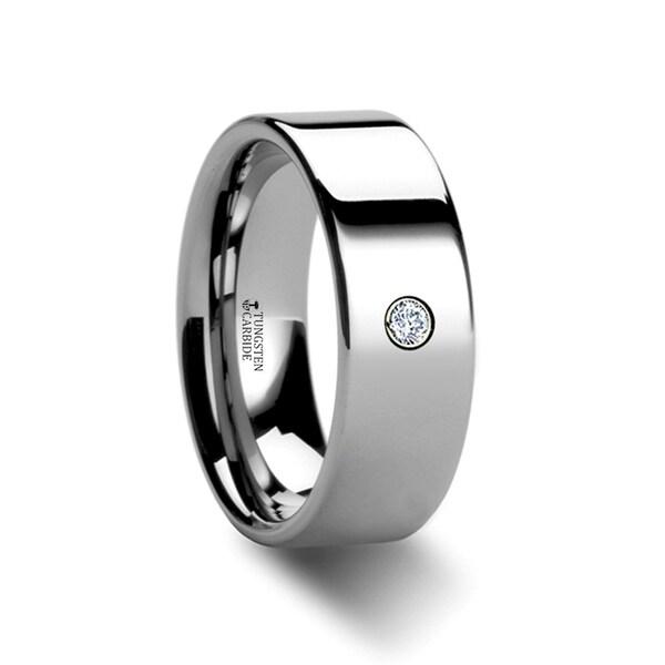 THORSTEN - BRISTOL Flat Polished Tungsten Diamond Ring