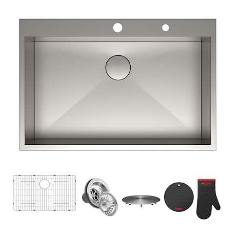 KRAUS Pax Stainless Steel 33 inch 1-Bowl Drop-in Kitchen Sink