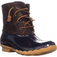 Sperry Top-Sider Saltwater Short Rain Boots, Tan/Navy - 5 us / 35 eu