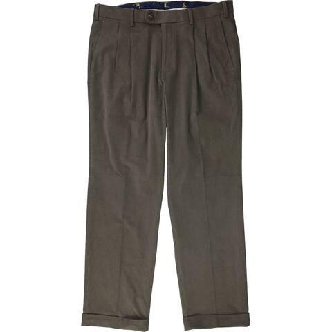 Ralph Lauren Mens Pleated Dress Pants Slacks, Brown, 38W x 34L