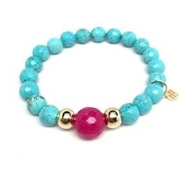 Turquoise Magnesite 'Pride' stretch bracelet 14k Over Sterling Silver