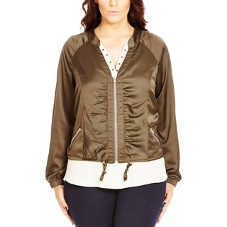 City Chic Womens Plus Bomber Jacket Sateen Ruched - xL