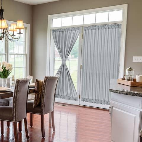 Elegant Room Blackout Curtains Rod Sliding Window Door Panel