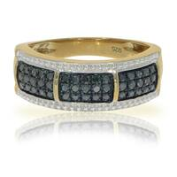 Brand New 0.37 Carat Round Brilliant Cut Real Blue Diamond Anniversary Ring
