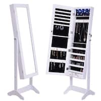 Costway Mirrored Jewelry Cabinet Armoire Lockable Storage Organizer w/Stand & LED Lights