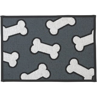 Pet Rageous Designed Tapestry Placemat for Pet Feeding Station, 13-Inch by 19-Inch, Scattered Bones, Dark Gray/White