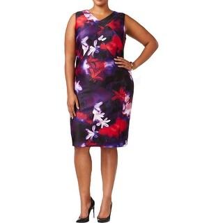 Calvin Klein Womens Plus Casual Dress V Neck Printed