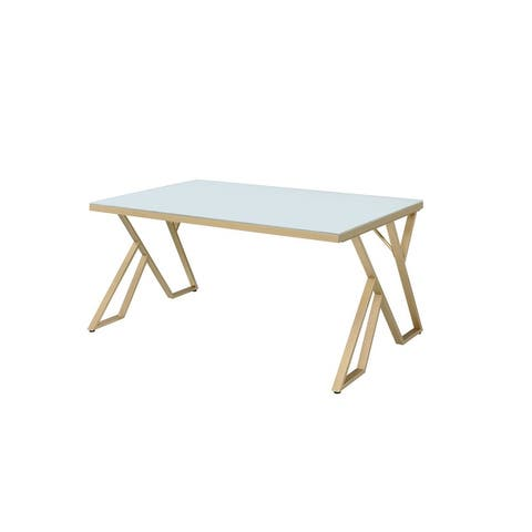 Furniture of America Daanyal Glam Glass Dining Table with Gold Frame