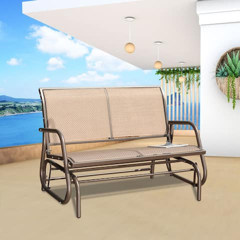 Brown Finish Patio Lounge Glider Chair