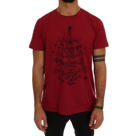 Red Cotton 2017 Motive Print Men's T-Shirt