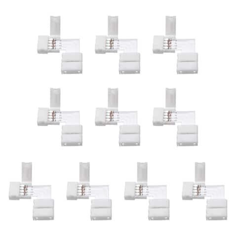 10mm 4P L-shape Connector for 5050 RGB 4 Conductor LED Strip Lights 10Pcs - L-shape,10Pcs