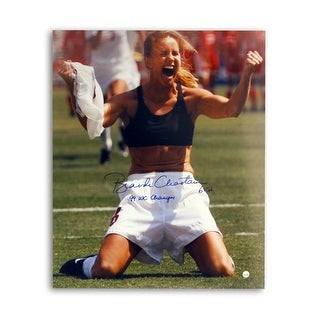 Brandi Chastain Autographed Womens US World Cup Soccer 16x20 Photo Inscribed 99 WC Champs