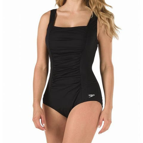 Speedo Black Womens Size 12 Shirred Square-Neck One-Piece Swimsuit