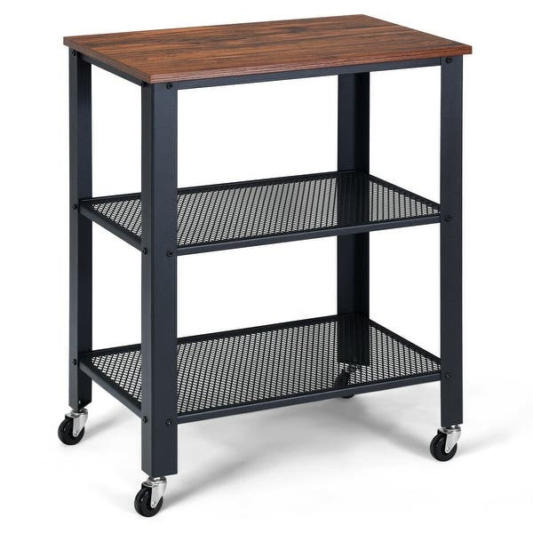 Gymax Serving Cart 3 Tier Kitchen Utility