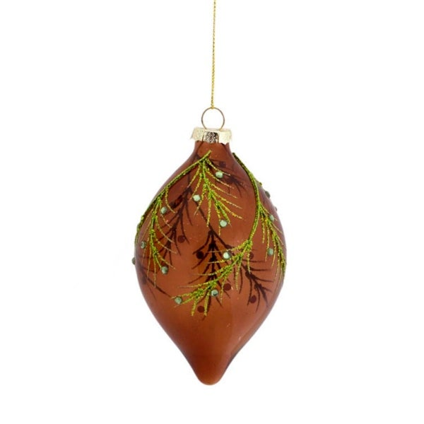 """5"""" Enchanted Forest Green Glitter Leaf Glass Finial Christmas Ornament - brown"""