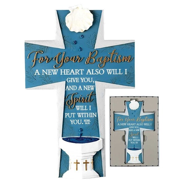 "9.75"" Blue and White Baptism Themed Religious Wall Cross - N/A"