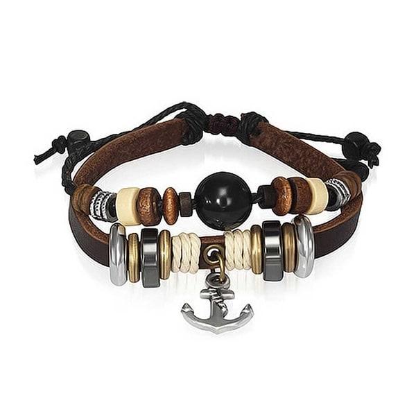Genuine braided leather mens two strand anchor nautical bracelet wristband