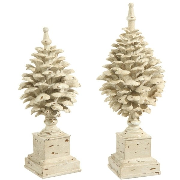 Set of 2 Country Cabin Rustic Glittered Off White Pine Cone Finial Table Top Decorations 15.75""