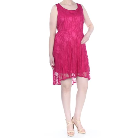 LOVE SQUARED Womens Pink Lace Sleeveless Above The Knee Party Dress Plus Size: 2X