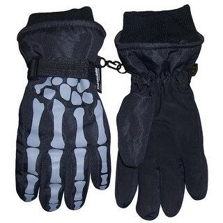 NICE CAPS Boys Skeleton Print Waterproof Reflector Glove - Black/Grey