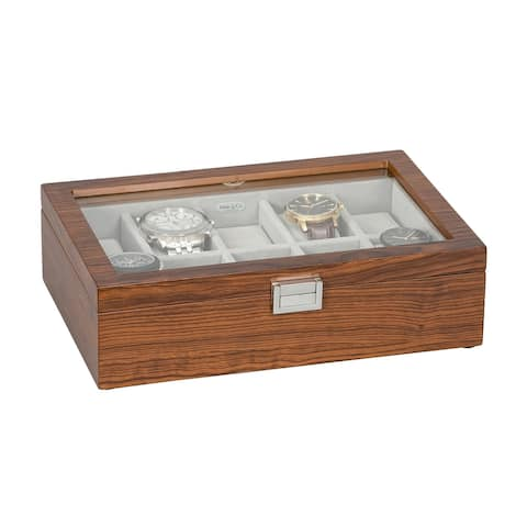 Mele & Co. Jayson Glass Top Wooden Watch Box in Mahogany Finish