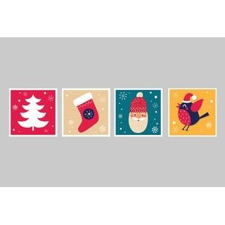 Festives Decorations Set 6 - Christmas Posters - 9x9 Matte Poster Print
