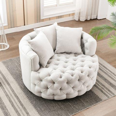 "42.9"" Elegant Round Swivel Barrel Chair"