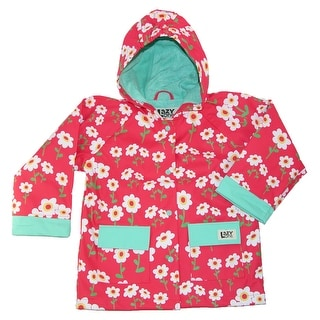 Lazy One Kids' Floral Print Rain Jacket - Coral