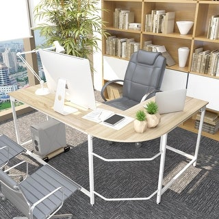L-shapeds Computer Desk Wood Steel Laptop Corner Table Workstation Study Home Office with CPU Stand