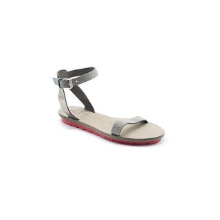 Brunello Cucinelli Gray Pebbled Leather Flat Sandal
