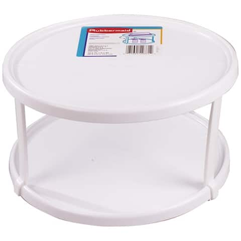 """Rubbermaid 2937-RD WHT Turntable, Double Deck, White,10-1/2"""""""