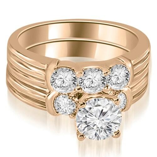 1.75 cttw. 14K Rose Gold Prong Set Round Cut Diamond Bridal Set