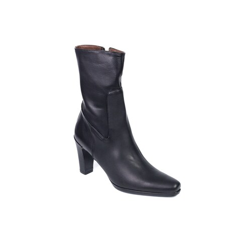 Car Shoe By Prada Black Leather Mid Calf Boots