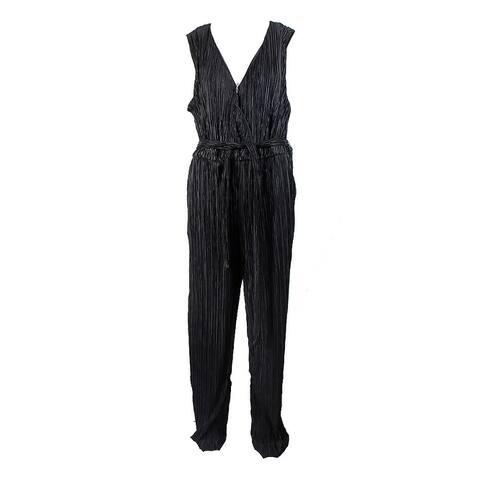Ny Collection Plus Size Black Surplice Wide-Leg Jumpsuit 2X