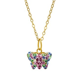 Crystaluxe Butterfly Pendant with Swarovski elements Crystals in 14K Gold-Plated Sterling Silver