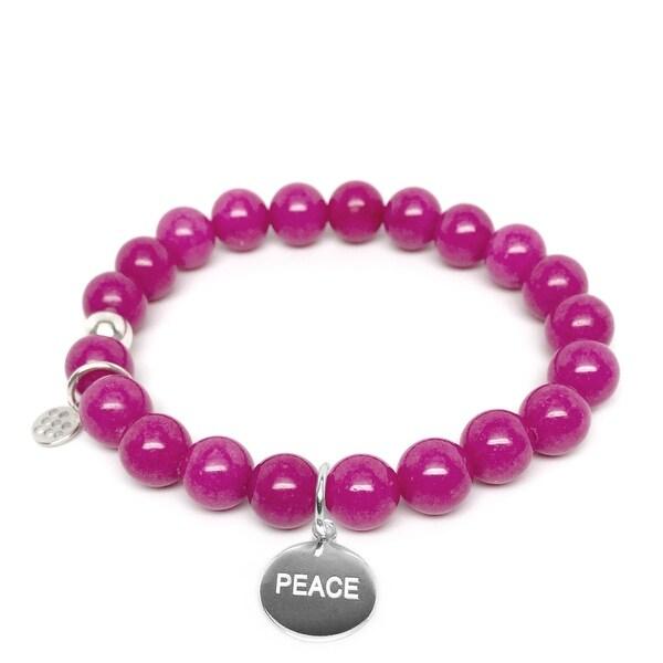 "Fuchsia Jade Peace Silver Charm Lucy 7"" Bracelet"