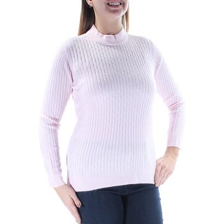 Womens Pink Long Sleeve Turtle Neck Casual Sweater Size L
