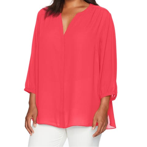 NYDJ Women's Pink Size XL Button Down Pleated Tunic V-Neck Blouse
