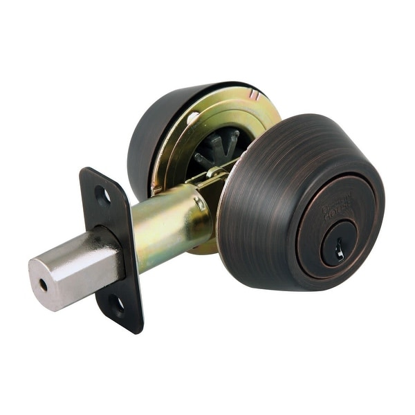 Design House 702613 Double Cylinder Keyed Entry Deadbolt with Radius Corner Latch Faceplate - Brushed Bronze