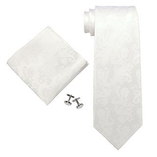 Men's White Paisley 100% Silk Neck Tie Set Cufflinks & Hanky 1894C