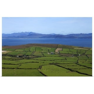 """Pastoral Countyside Overlooking Dingle Bay and the Distant Ring of Kerry, Ireland"" Poster Print"