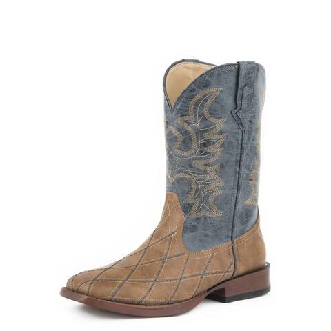 Roper Western Boots Men Cross Cut Faux Leather Tan