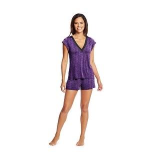 Maidenform V-Neck Shorts Set - Color - Scatter Print - Size - L