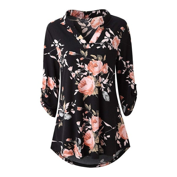 Haute Edition Women's Floral 3/4 Roll Sleeve Tunic Top. Opens flyout.
