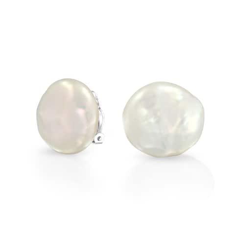 Biwa Coin Freshwater Pearl Clip On Earrings Ear Sterling Silver