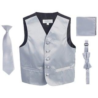Silver Vest Necktie Bowtie Pocket Square Boys Set 8-14