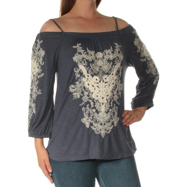 6322e79a6d5 Shop INC Womens Blue Embellished Cold Shoulder Long Sleeve Square Neck Top  Size  M - Free Shipping On Orders Over  45 - Overstock.com - 22643045