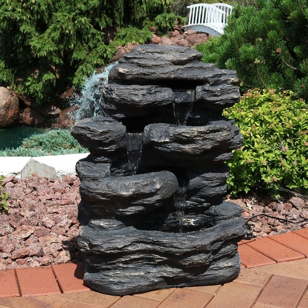 Sunnydaze Rock Falls Outdoor Waterfall Fountain with LED Lights 24 Inch Tall